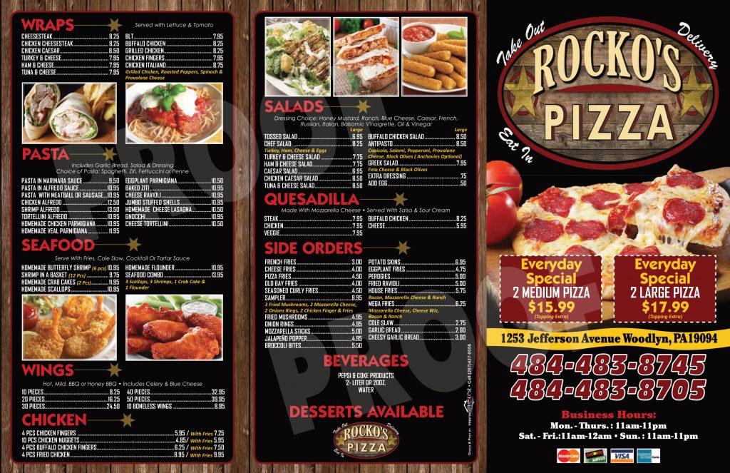 Rockos Pizza Menu